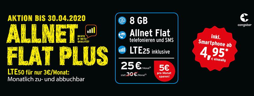 Congstar Allnet Flat Plus mit 8 GB + Smartphone Wahl für 25 € im Monat