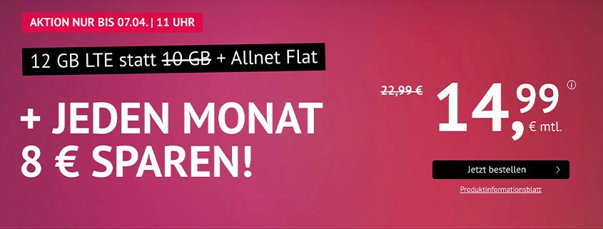 handyvertrag.de Aktionstarif: 12 GB LTE Flat für 14,99 €/mtl