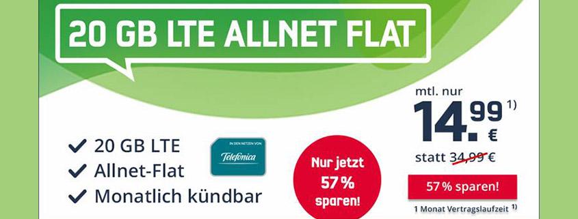 20 GB LTE Allnet Flat für nur 14,99 €im Monat