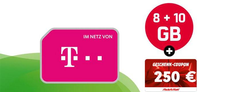 18 GB Telekom LTE Allnet Flat + 250 € Gutschein für 21,99 €/mtl.