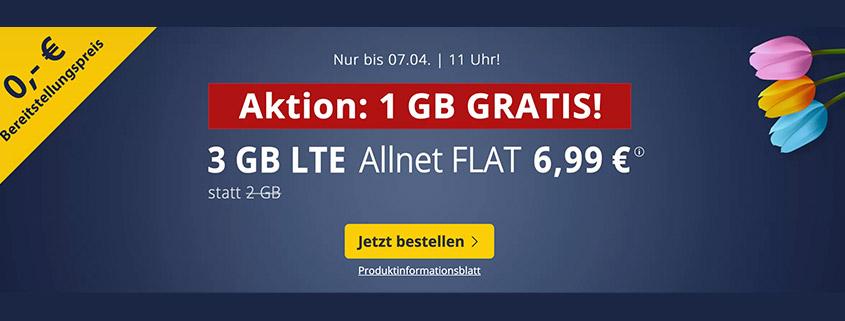 PremiumSIM LTE S mit 3 GB LTE Daten & Allnet Flat für 6,99 €/mtl.