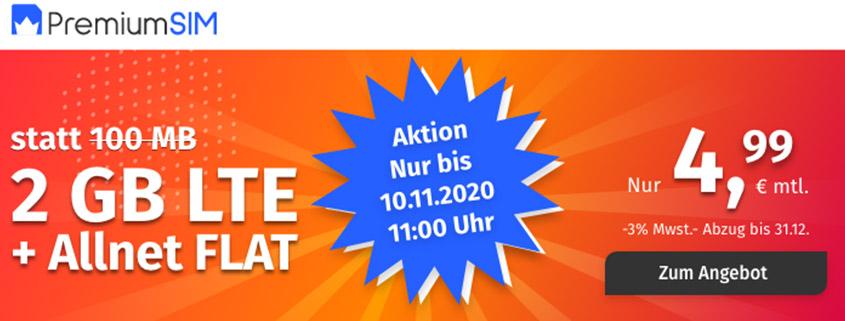 PremiumSIM LTE XS mit 2 GB LTE Daten & Allnet Flat für 4,99 €/mtl.