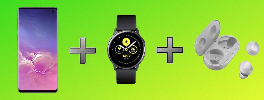 Samsung Galaxy S10 + Galaxy Watch Active + Galaxy Buds & Telekom LTE Flat für 26,99 €/mtl.