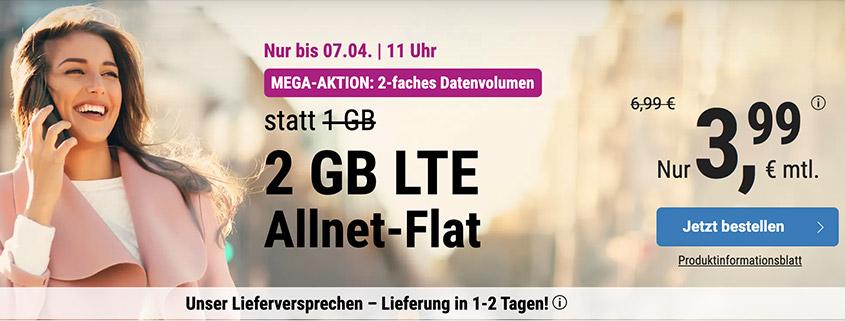 simply bietet 2 GB LTE Allnet Flat für 3,99 € pro Monat