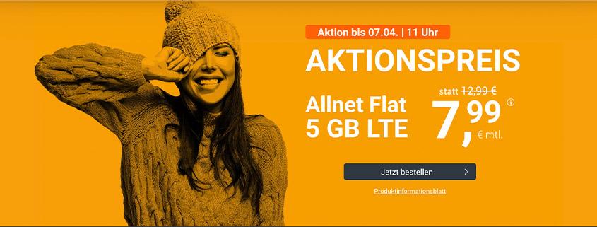 winSIM Top Deal - 5 GB LTE Flat für 7,99 €/mtl.