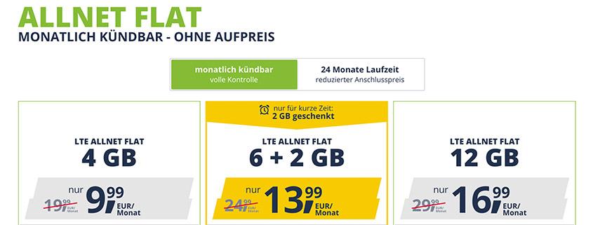 freenet Mobile: LTE Allnet Flat mit 4 / 8 / 12 GB im D2-Netz ab 9,99 €