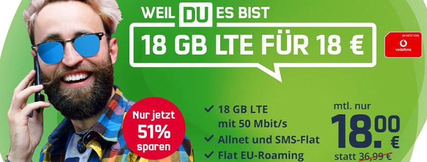 Highlight Deal - 18 GB Vodafone LTE Allnet Flat für nur 18€ im Monat