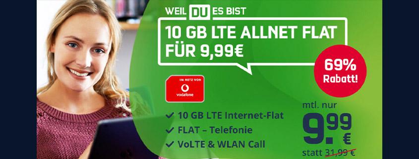 Highlight Deal - 10 GB Vodafone LTE Tarif für nur 9,99 € im Monat