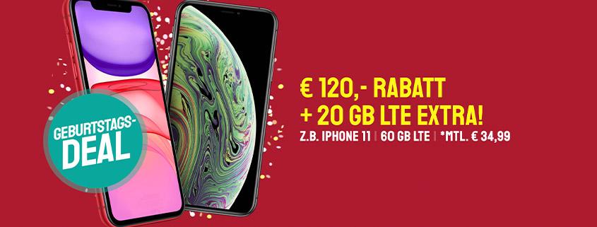 iPhone 11/XS + 60 GB LTE Tarif schon für 34,99 € im Monat