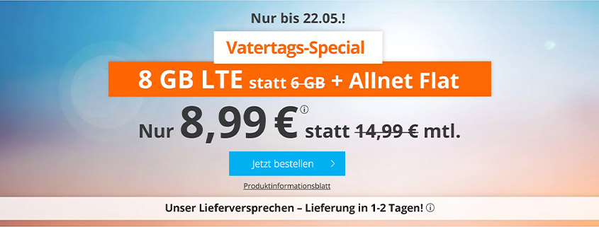 Vatertags-Special - 8 GB LTE Flat für 8,99 €bei sim.de