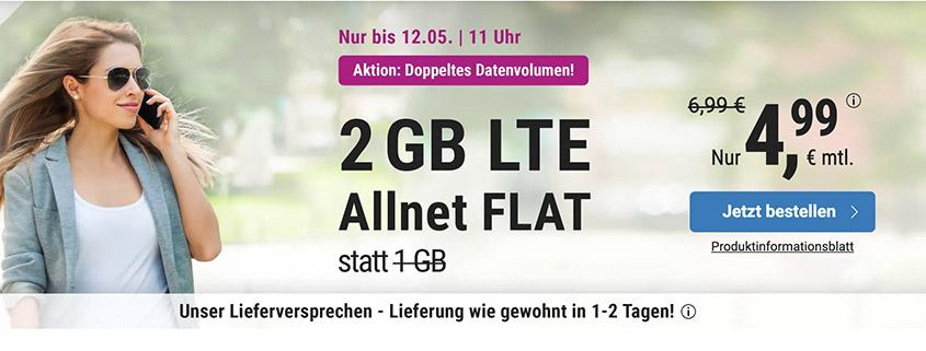 simply bietet 2 GB LTE Allnet Flat für 4,99 € pro Monat