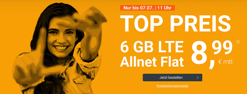 winSIM Top Deal - 6 GB LTE Flat für 8,99 €/mtl.