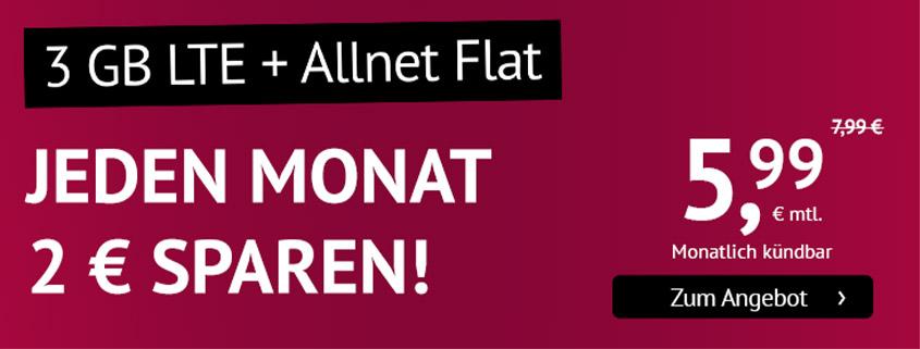 handyvertrag.de startet LTE Allnet Flat mit 3 GB für 5,99 €