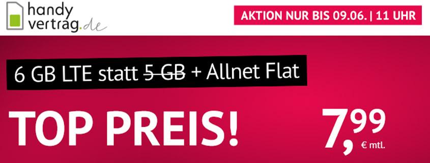 Aktion bei Handyvertrag.de - 6 GB LTE Allnet Flat für 7,99 €