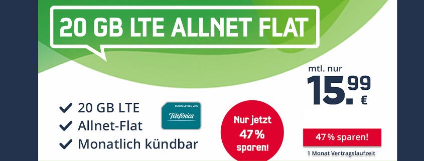 Monatlich kündbare 20 GB LTE Allnet-Flat für nur 15,99 €im Monat