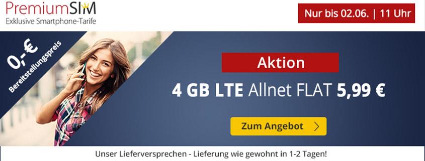 PremiumSIM bietet 4 GB LTE Allnet Flat für 5,99 €/mtl.