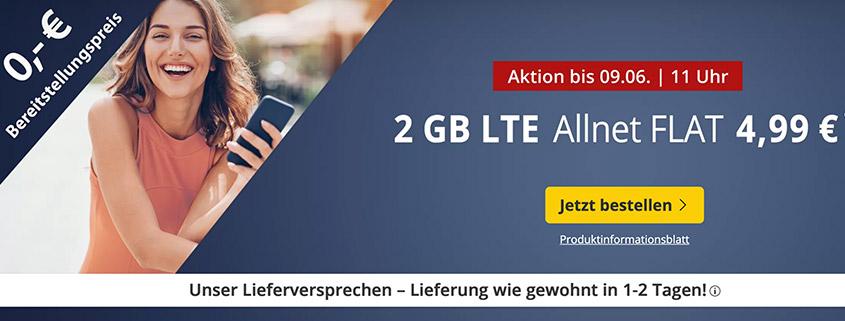 PremiumSIM LTE S mit 2 GB LTE Daten & Allnet-Flat für 4,99 €/mtl.