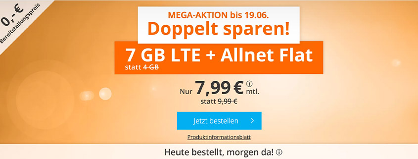 Mega-Aktion - 7 GB LTE Flat für 7,99 €bei sim.de