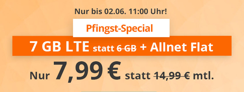 Pfingst-Special - 7 GB LTE Flat für 7,99 €bei sim.de