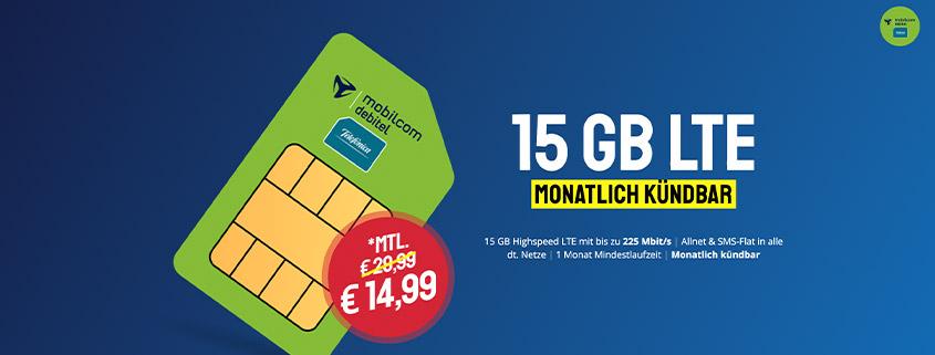Top Deal - 15 GB LTE Allnet Flat für nur 14,99 € im Monat