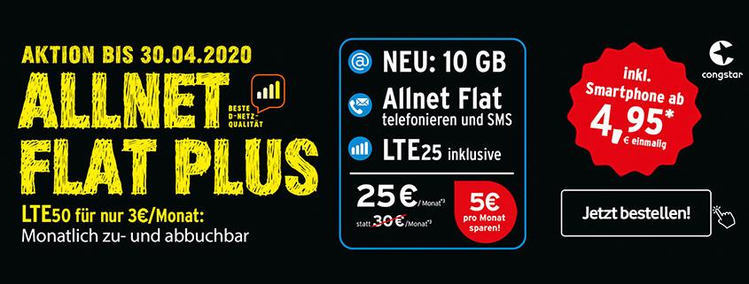 Congstar Allnet Flat Plus mit 10 GB + Smartphone Wahl für 25 € im Monat