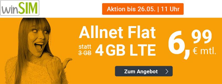 winsim LTE All 3 + 1 GB Aktionstarif für nur 6,99 € im Monat