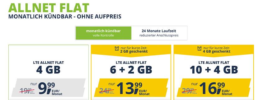 freenet Mobile: LTE Allnet Flat mit 4 / 8 / 14 GB im D2-Netz ab 9,99 €