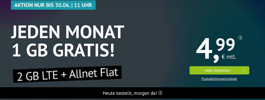 handyvertrag.de Deal - 2 GB LTE Allnet Flat für nur 4,99 €/mtl.