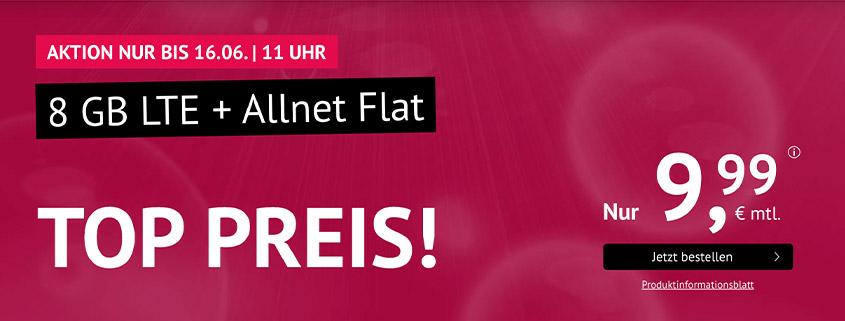 handyvertrag.de Aktionstarif: 8 GB LTE Flat für 9,99 €/mtl.