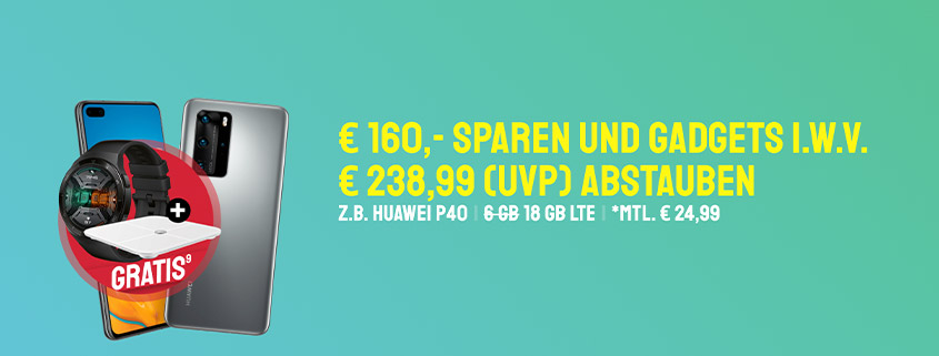 Huawei P40 & P40 Pro + Zugaben & LTE Allnet-Flat schon ab 24,99 € im Monat