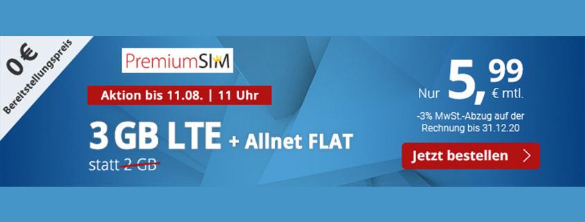 PremiumSIM LTE S mit 3 GB LTE Daten & Allnet-Flat für 5,99 €/mtl.