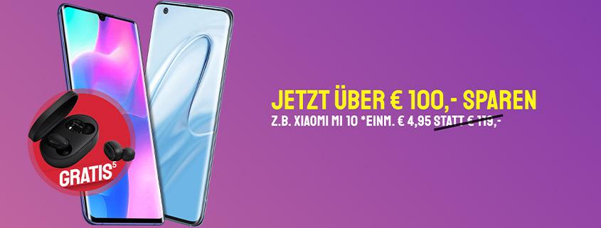 Xiaomi Mi 10 & Note 10 Lite + LTE Tarife & Earbuds schon ab 19,99 €/mtl.