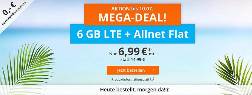Mega-Aktion - 6 GB LTE Flat für 6,99 €bei sim.de
