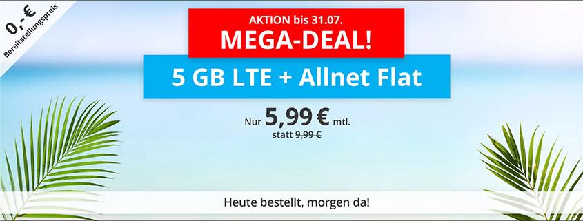 Nur für kurze Zeit - sim.de bietet 5 GB LTE Flat für 5,99 €/mtl. an