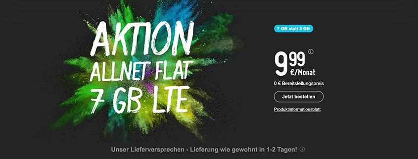 smartmobil bietet Dir eine 7 GB LTE Allnet-Flat für 9,99 €/mtl.