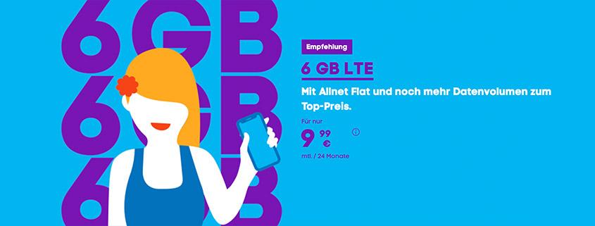 Blau Tarifaktion - 6 GB LTE Allnet-Flat für 9,99 € monatlich
