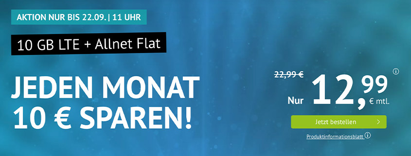 handyvertrag.de Aktionstarif: 10 GB LTE Flat für 12,99 €/mtl.