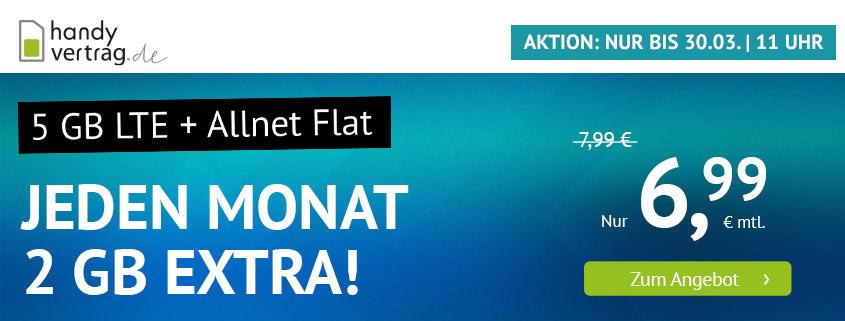 handyvertrag.de startet mit LTE Allnet Flat mit 5 GB für 6,99 €