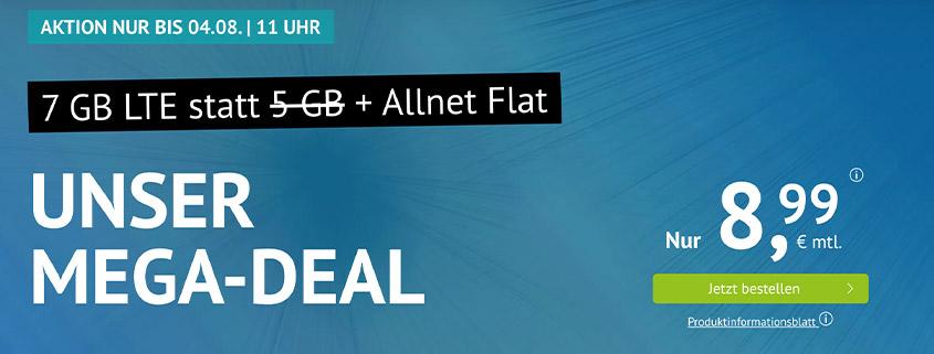 Aktion bei Handyvertrag.de - 7 GB LTE Allnet Flat für 8,99 €