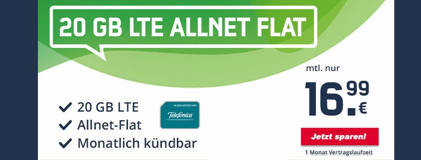Monatlich kündbare 20 GB LTE Allnet-Flat für nur 16,99 €im Monat
