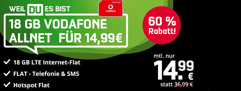 Black Week Deals - 18 GB LTE Allnet Flat schon ab 14,99 € im Monat!