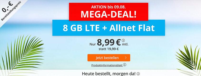 Mega-Aktion - 8 GB LTE Flat für 8,99 €bei sim.de