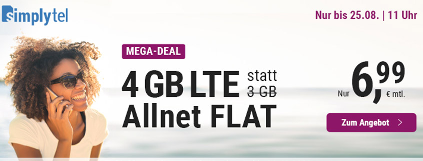 simply bietet 4 GB LTE Allnet Flat für 6,99 € pro Monat