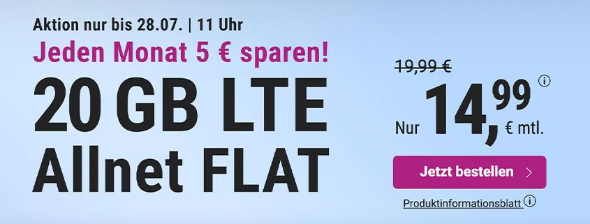 simply bietet eine 20 GB LTE Flat für 14,99 € pro Monat