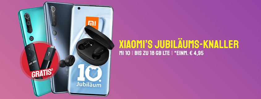 Xiaomi Mi 10 (128 GB) + LTE Tarif & TV-Stick für nur 24,99 €/mtl.