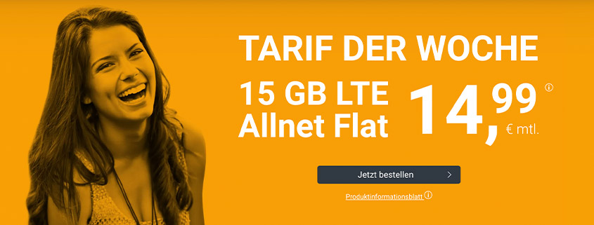 winSIM Top Deal - LTE All 15 GB Tarif für nur 14,99 €