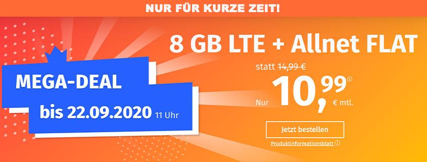 PremiumSIM bietet 8 GB LTE Allnet Flat für 10,99 €/mtl.