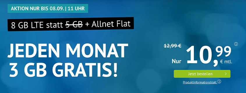 Aktion bei Handyvertrag.de - 8 GB LTE Allnet Flat für 10,99 €
