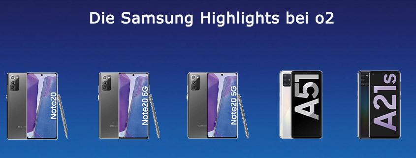 Die Samsung Highlights bei o2 - Top-Smartphones schon ab 12,99 € im Monat