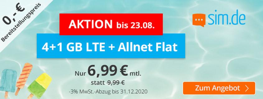 Aktionstarif - sim.de bietet 5 GB LTE Flat für 6,99 €/mtl. an